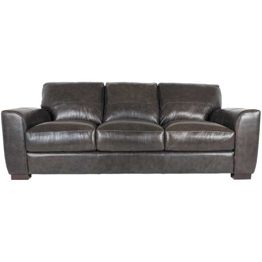 Dark Grey Italian All Leather Sofa 1P 4849S | Soft Line | Afw Throughout Caressa Leather Dark Grey Sofa Chairs (Image 20 of 25)