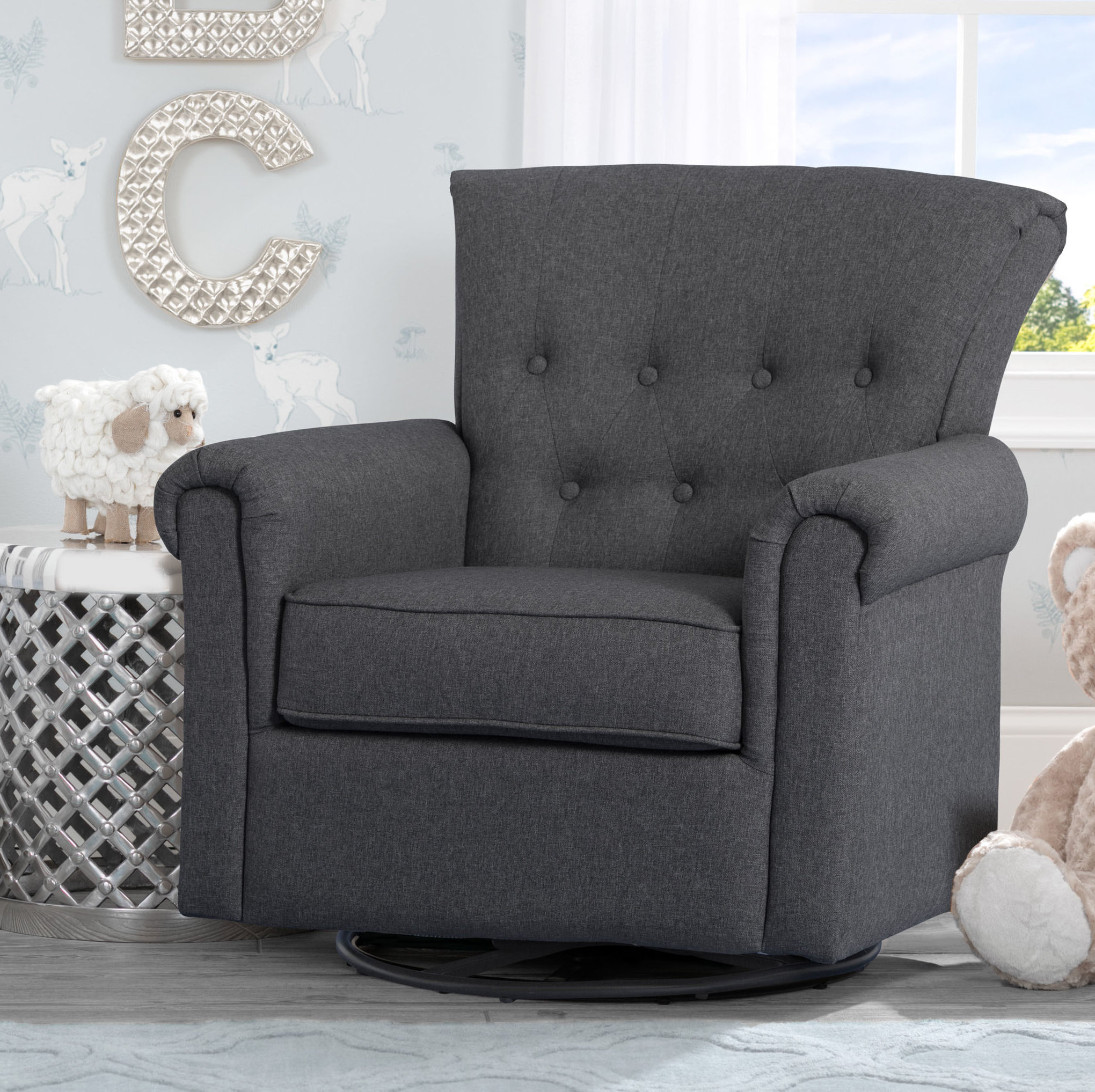 Delta Children Harper Nursery Swivel Glider & Reviews | Wayfair Regarding Dale Iii Polyurethane Swivel Glider Recliners (Image 12 of 25)