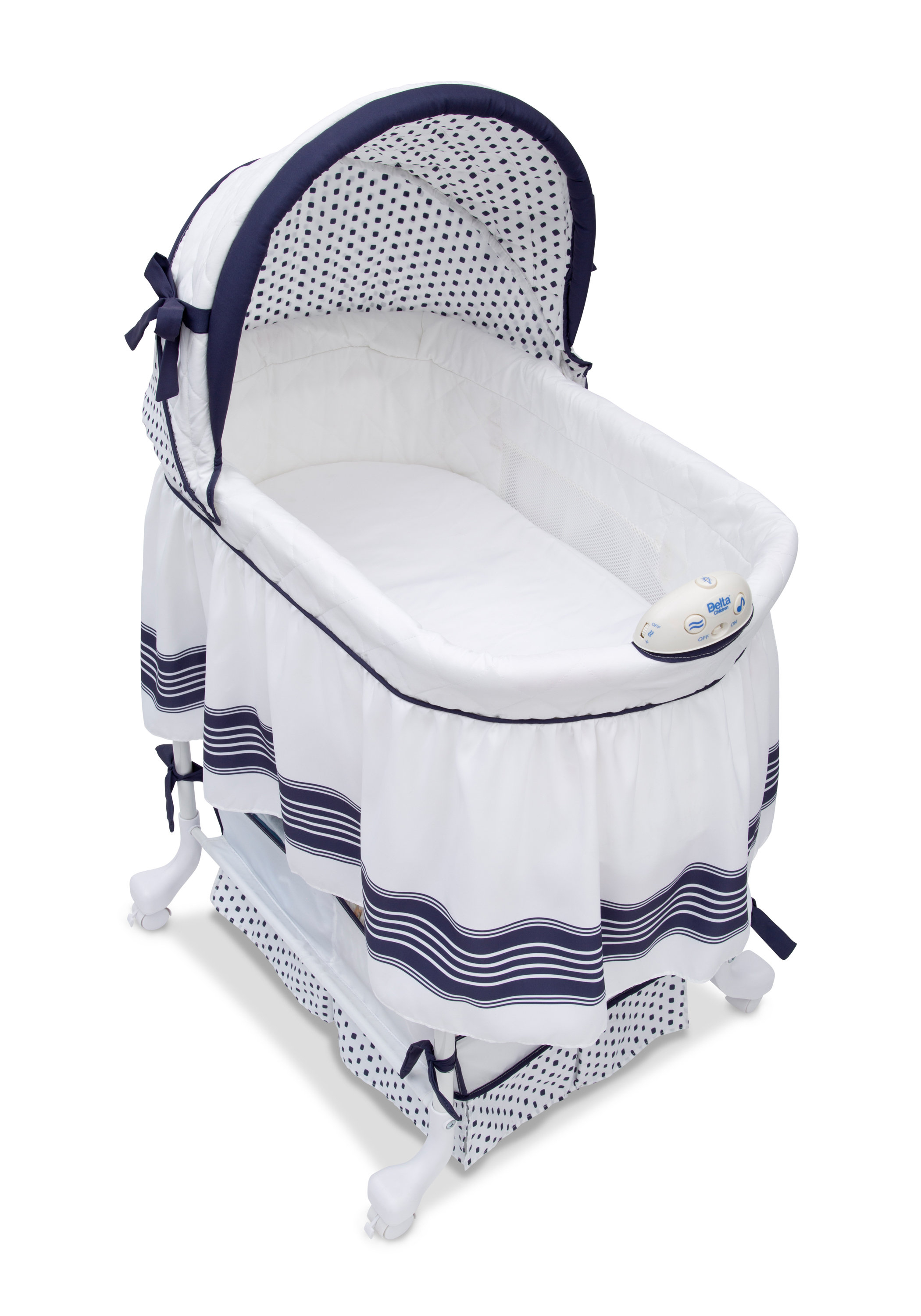 Delta Children Smooth Glide Bassinet & Reviews | Wayfair With Regard To Bailey Mist Track Arm Skirted Swivel Gliders (View 15 of 25)