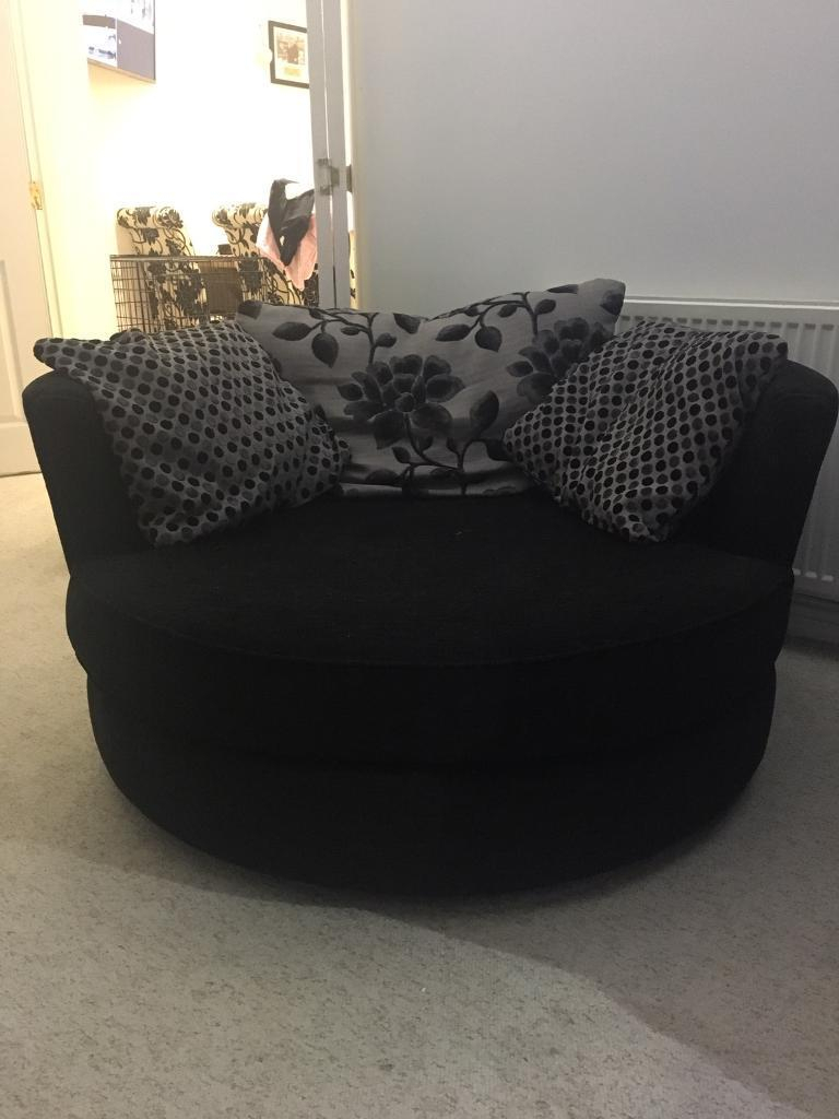 Dfs 3 Seater, Swivel Cuddle Love Chair And Armchair Black Joelle In Gibson Swivel Cuddler Chairs (View 7 of 25)