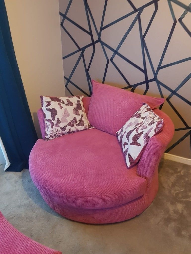 Dfs Abigail Cuddler Sofa, Swivel Chair A D Foot Stool Pink | In Intended For Abigail Ii Sofa Chairs (View 14 of 25)