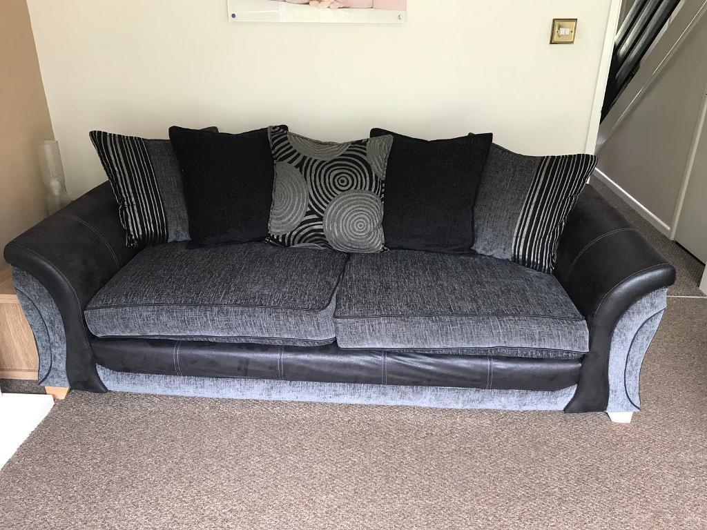Dfs Black/charcoal 4 Seater Sofa | In Exmouth, Devon | Gumtree with Lucy Dark Grey Sofa Chairs