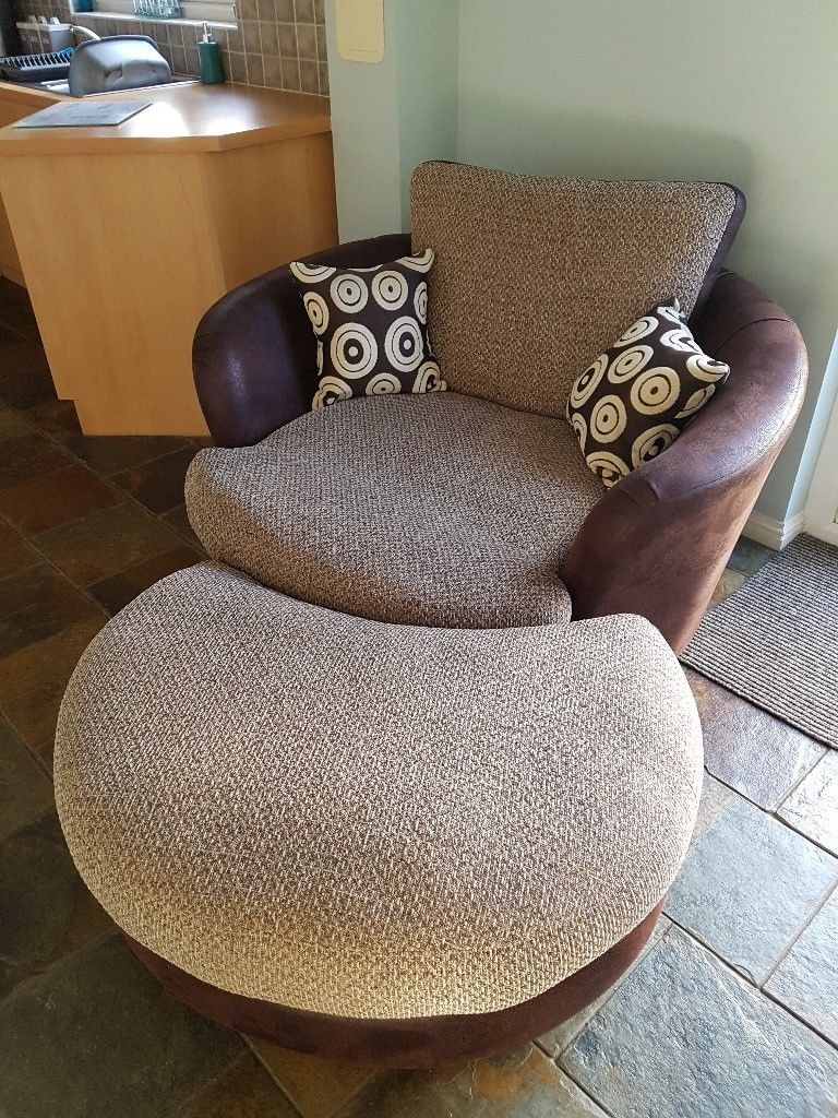 Dfs Cuddle Swivel Chair And Footstool | In Larbert, Falkirk | Gumtree In Gibson Swivel Cuddler Chairs (View 10 of 25)