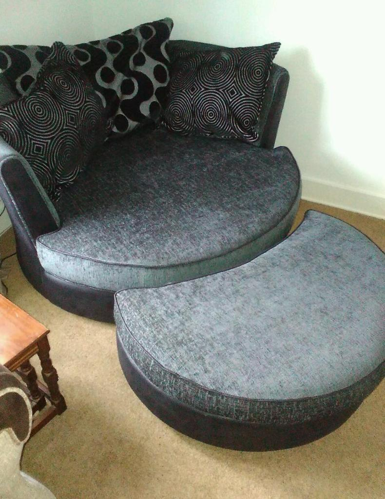 Dfs Shannon Cuddler Swivel Chair With Footstall In Charcoal (View 8 of 25)