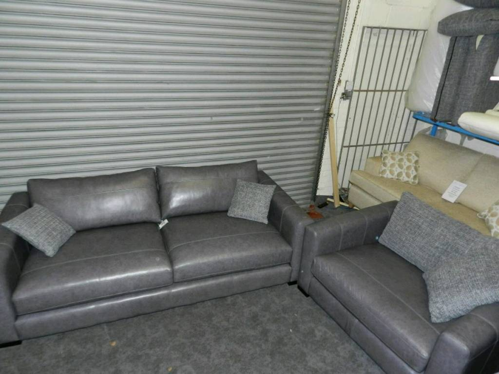 Dillon Grey Leather Large Sofa + Snuggler Chair | In Mansfield Regarding Mansfield Graphite Velvet Sofa Chairs (View 8 of 25)