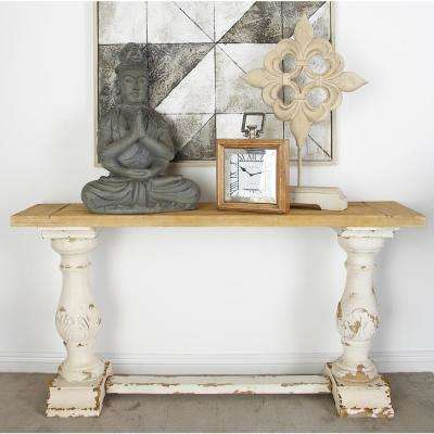 Distressed White – Console Tables – Accent Tables – The Home Depot With Well Known Antique White Distressed Console Tables (Image 6 of 25)