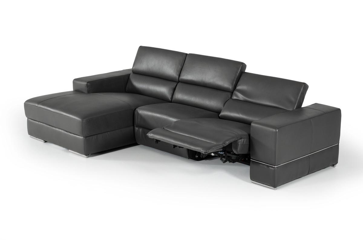 Divani Casa Hilgard Modern Dark Grey Leather Sectional W/ Recliner Regarding Allie Dark Grey Sofa Chairs (View 15 of 25)