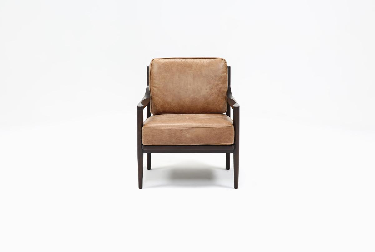 Dominic Saddle Accent Chair | Living Spaces Pertaining To Moana Taupe Leather Power Reclining Sofa Chairs With Usb (Image 1 of 25)