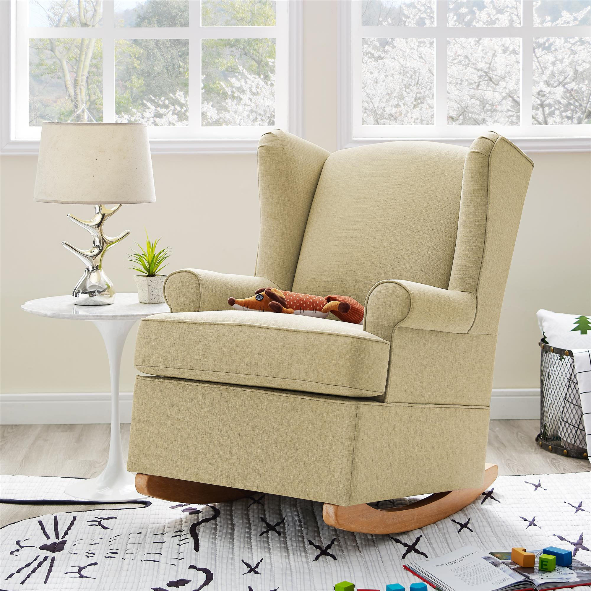 Dorel Living | Baby Relax Brennan Wingback Convertible Rocker, Beige Inside Brennan Sofa Chairs (View 23 of 25)