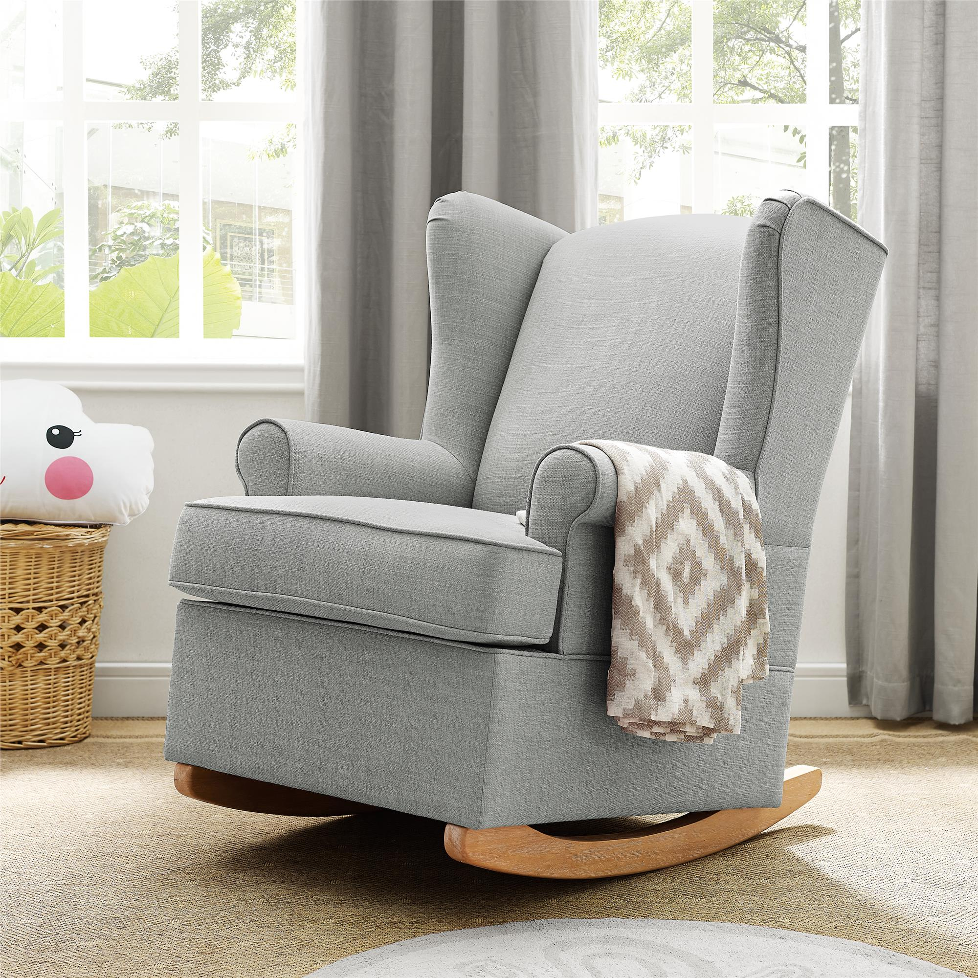 Dorel Living | Baby Relax Brennan Wingback Convertible Rocker, Gray in Brennan Sofa Chairs