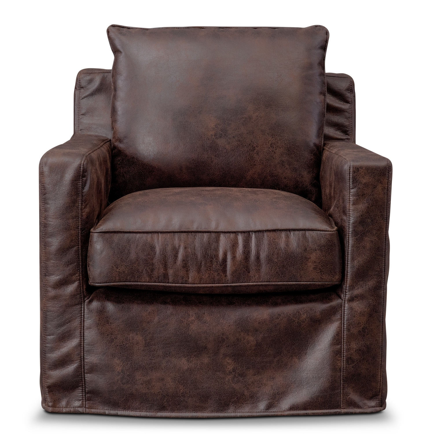 Eastwood Swivel Chair - Coffee | American Signature Furniture in Loft Black Swivel Accent Chairs