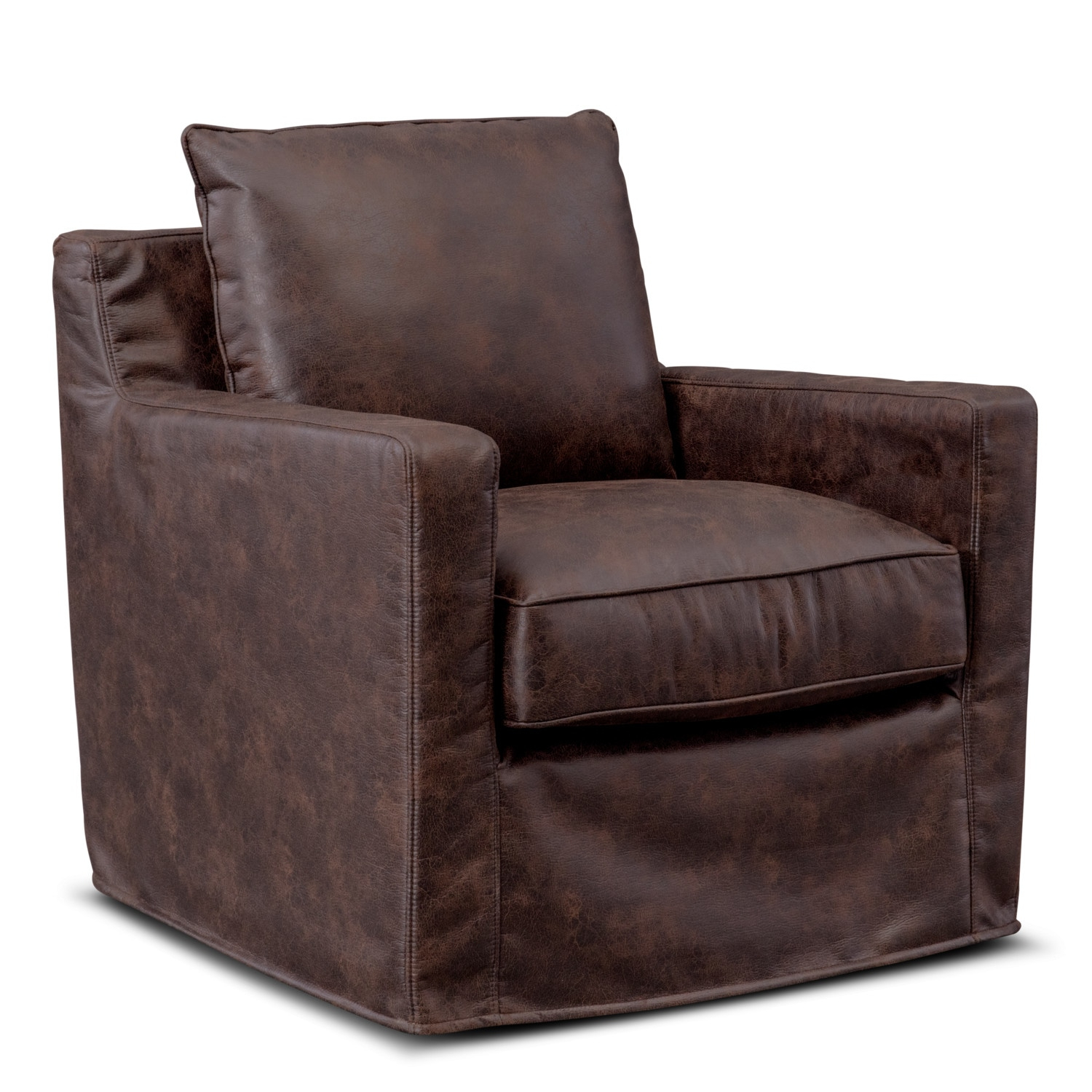 Eastwood Swivel Chair – Coffee | American Signature Furniture In Loft Black Swivel Accent Chairs (View 13 of 25)