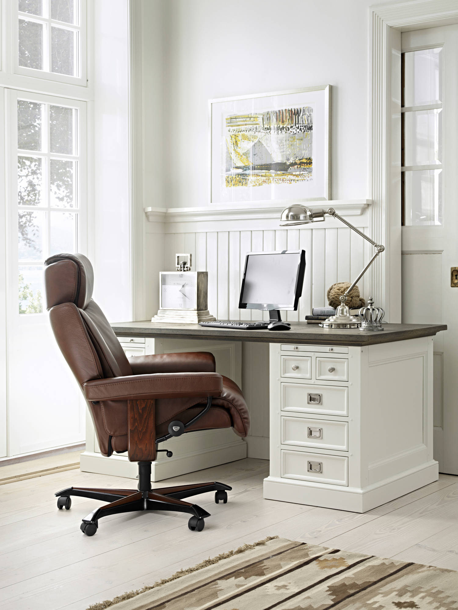 Ekornes Stressless Magic Office Chair | Luxury On Wheels Throughout Kawai Leather Swivel Chairs (Image 9 of 25)