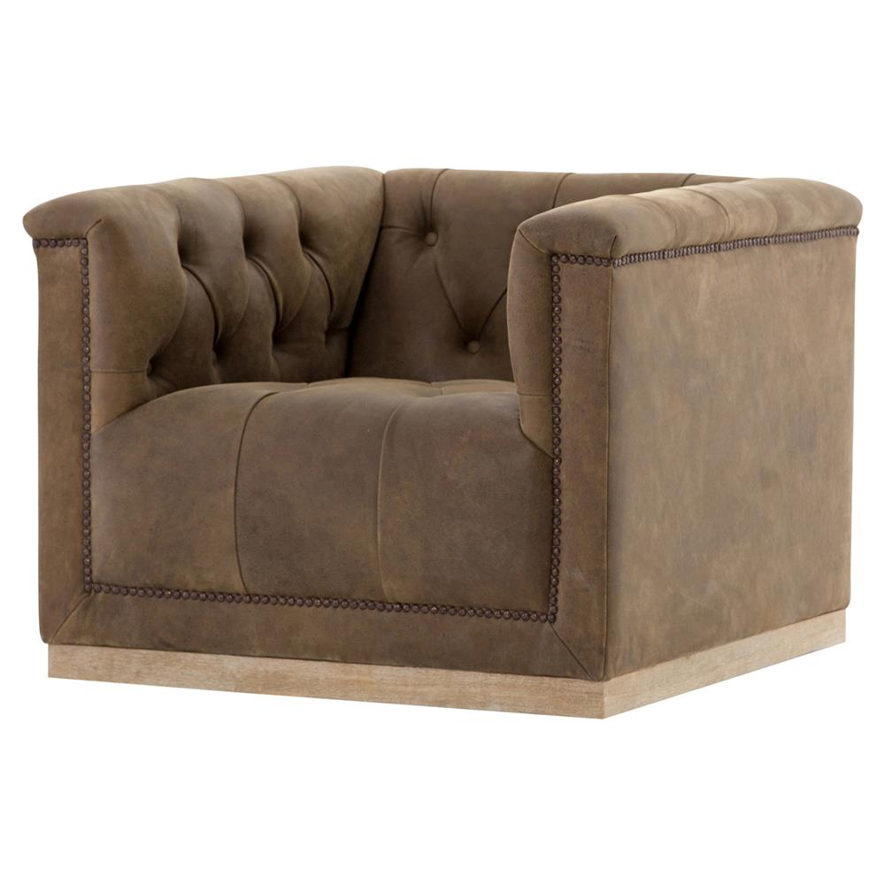 Elder Rustic Lodge Tufted Brown Leather Swivel Arm Chair   Kathy Kuo For Chocolate Brown Leather Tufted Swivel Chairs (Photo 15 of 25)