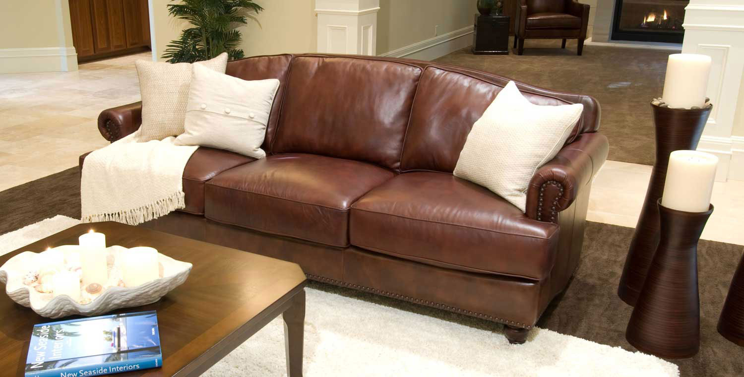 Elements Fine Home Furnishings Mansfield Top Grain Leather Sofa With Regard To Mansfield Cocoa Leather Sofa Chairs (View 8 of 25)
