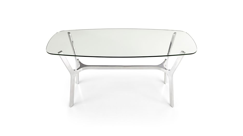 Elke Glass Console Table With Polished Aluminum Base (Image 10 of 25)