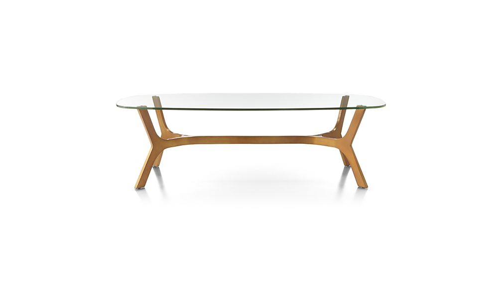 Elke Rectangular Glass Coffee Table With Brass Base + Reviews In Most Recently Released Elke Marble Console Tables With Polished Aluminum Base (Image 11 of 25)
