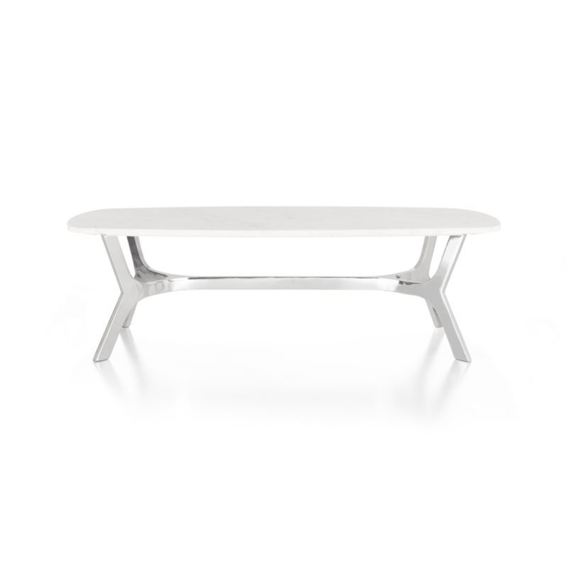 Elke Rectangular Marble Coffee Table With Polished Aluminum Base In Throughout Well Known Elke Marble Console Tables With Polished Aluminum Base (View 7 of 25)