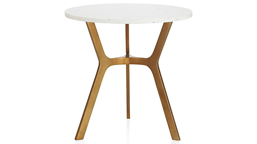 Elke Round Marble End Table With Brass Base + Reviews (Photo 4 of 25)