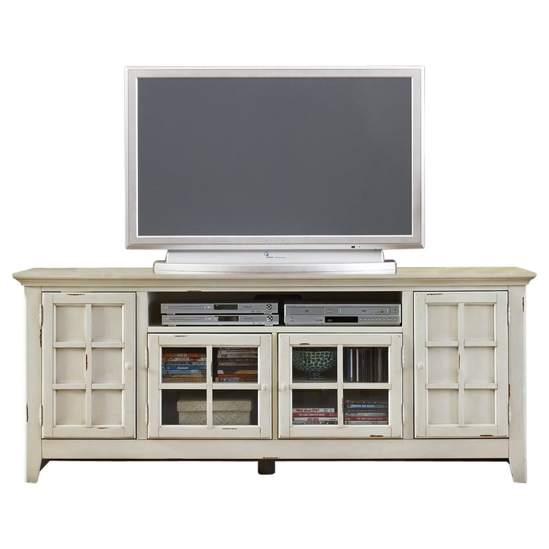 Emerson Hills 74 Inch Tv Console White Tv Stands And Tv Consoles Regarding Current Sinclair White 54 Inch Tv Stands (Image 4 of 25)
