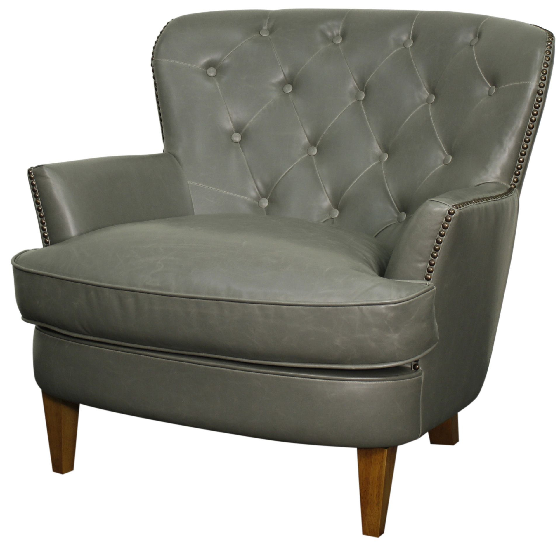Emma Bonded Leather Tufted Back Arm Chair In Vintage Gray With Amber Regarding Amala Dark Grey Leather Reclining Swivel Chairs (Image 14 of 25)