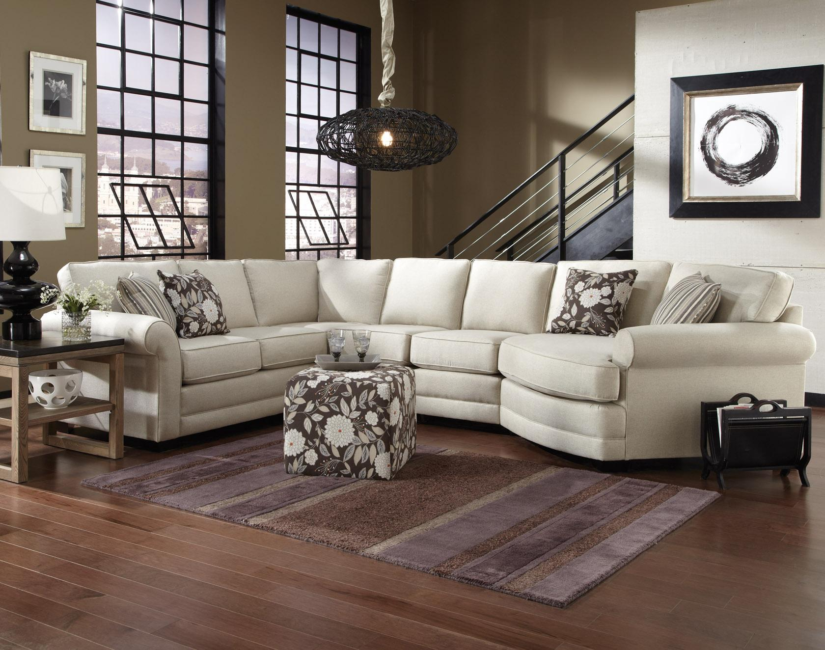 England Brantley 5 Seat Sectional Sofa With Cuddler | Dunk & Bright within Landry Sofa Chairs