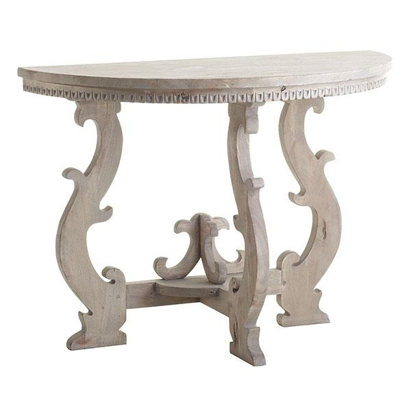 European Demilune Whitewash Console Within Best And Newest Hand Carved White Wash Console Tables (View 6 of 25)