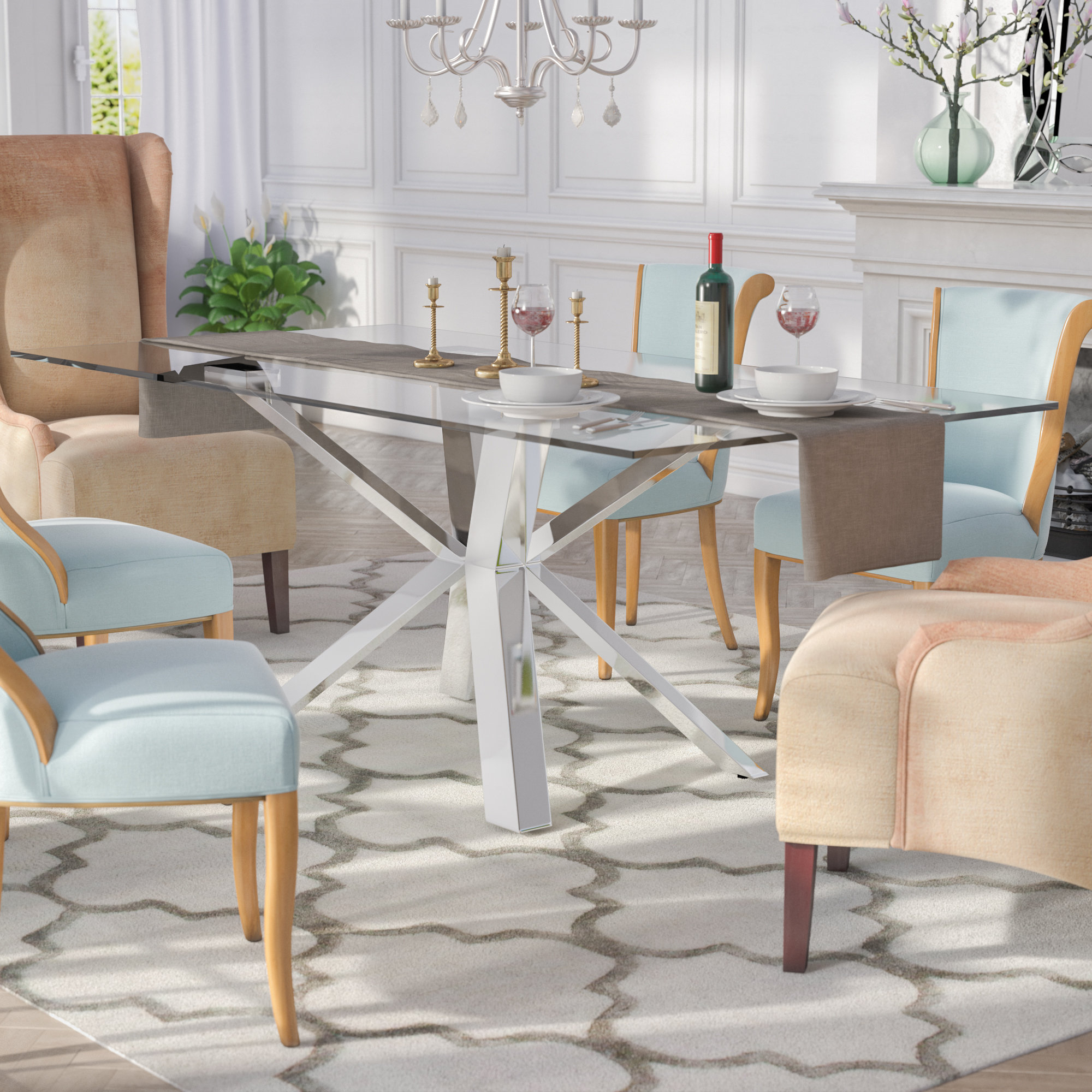 Everly Quinn Marshall Dining Table & Reviews | Wayfair Within Quinn Teak Sofa Chairs (Image 4 of 25)
