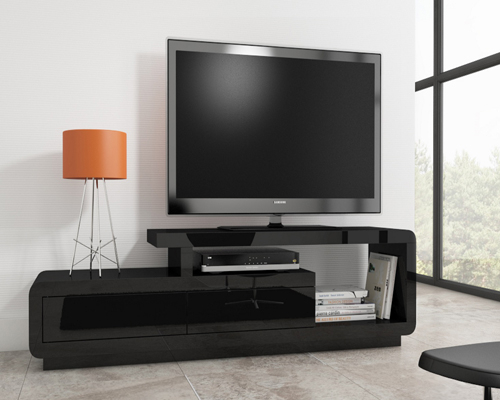 Evoque Black High Gloss Tv Unit Stand With Storage Drawers With Most Recent Opod Tv Stand Black (Image 7 of 25)