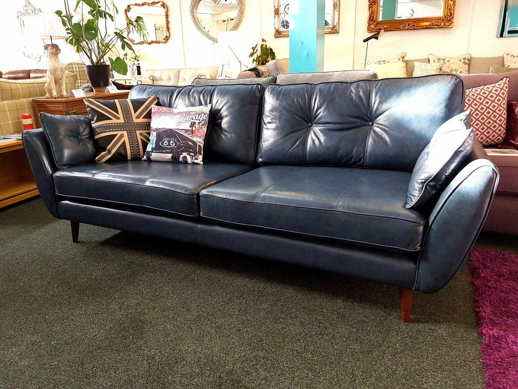 Ex Display French Connection Zinc Blue Leather 4 Seater Sofa £959 throughout Caressa Leather Dove Grey Sofa Chairs