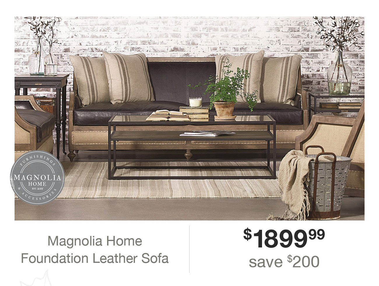Expired Email: Hi Angela, Click Here To Make Your Home A Magnolia in Magnolia Home Foundation Leather Sofa Chairs