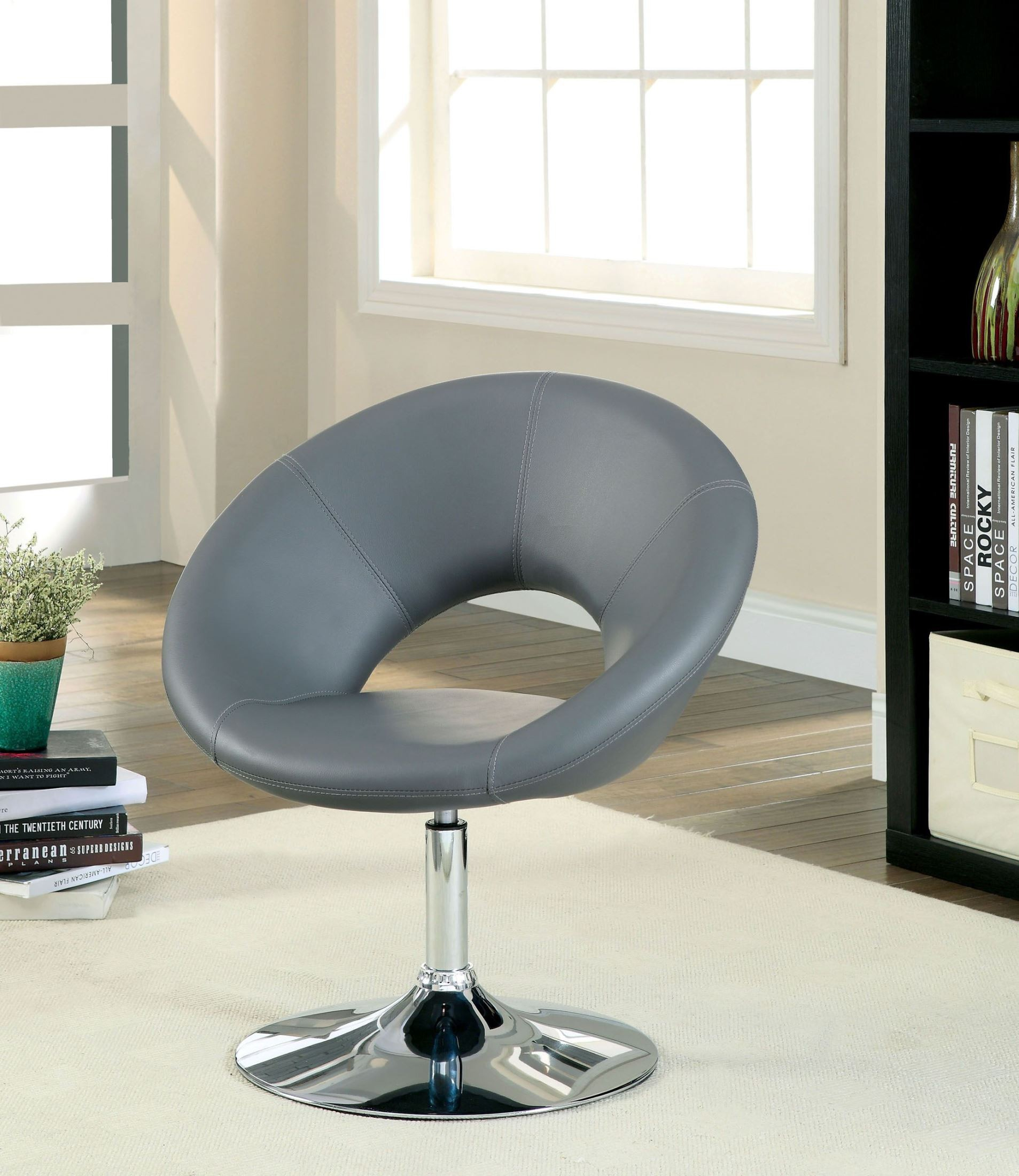 Faliro Gray Swivel Accent Chair From Furniture Of America (Cm Regarding Nichol Swivel Accent Chairs (Image 5 of 25)