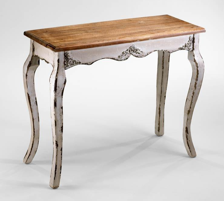 Famous Antique White Distressed Console Tables In Cotswold Antique White Wash Wood Console Table (Image 7 of 25)