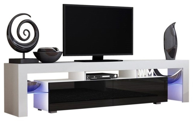 "Famous Cheap White Tv Stands With Tv Stand Milano 200 White Body Modern 90"" Tv Stand Led (View 19 of 25)"