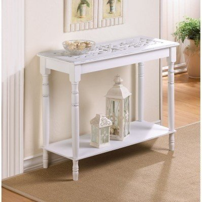 Famous Hand Carved White Wash Console Tables Within Shabby Chic Console Table – Visual Hunt (Image 6 of 25)