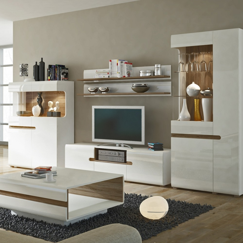 Famous High Gloss Tv Cabinets Regarding Buy Catania White High Gloss With Truffle Oak Trim Tv Unit – Wide (View 15 of 25)