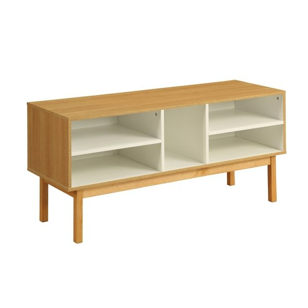 Famous Layered Wood Small Square Console Tables Intended For Acme Drivia Console Table In Natural And Ivory – Free Shipping Today (Image 6 of 25)
