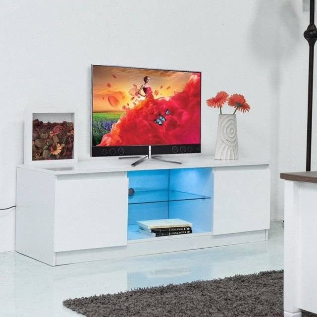 Famous Led Tv Cabinets Within Giantex Led Tv Stand Unit Cabinet Media Console Furniture Modern (Image 5 of 25)