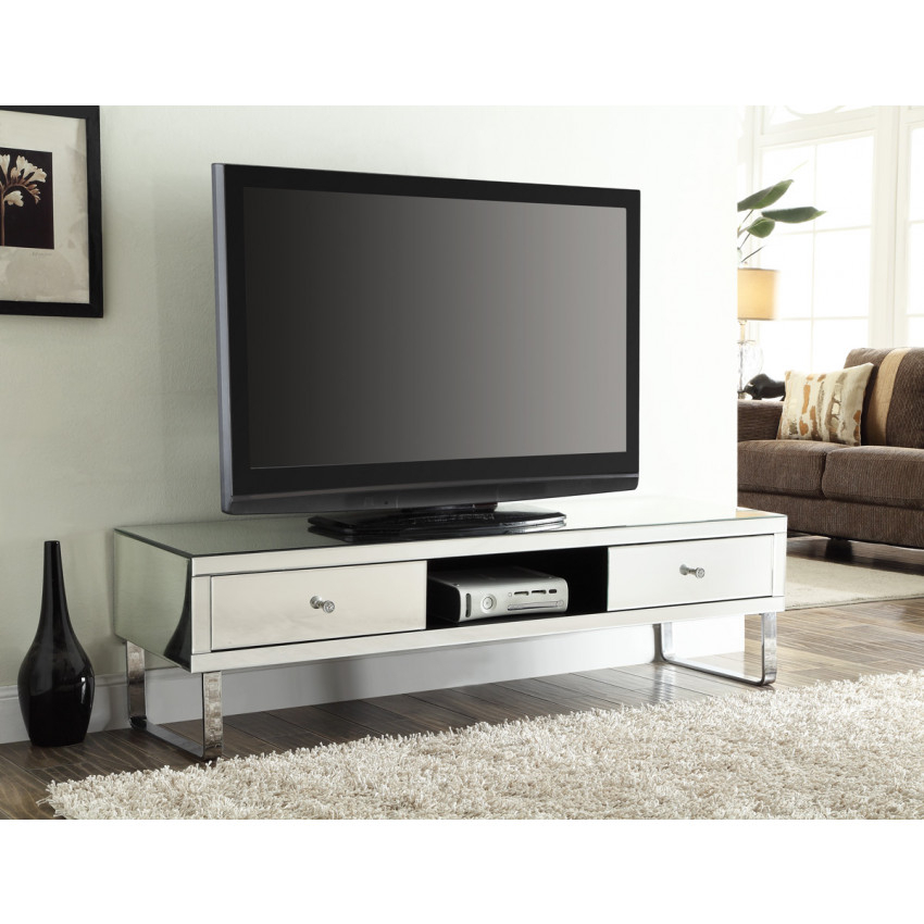Famous Mirrored Furniture Tv Unit Within Mirrored Media Tv Stand Cabinet 2 Drawers (Image 8 of 25)