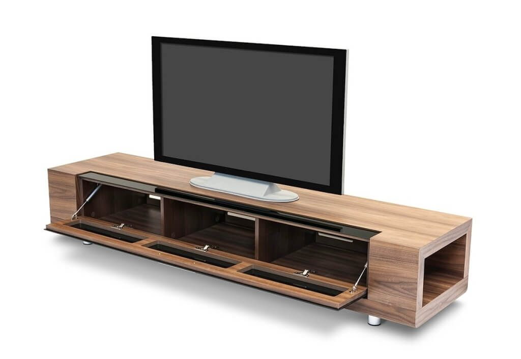 Famous Modern Low Tv Stands Pertaining To Furniture: Breathtaking Wooden Modern Tv Stands With Open Drawer (Image 4 of 25)