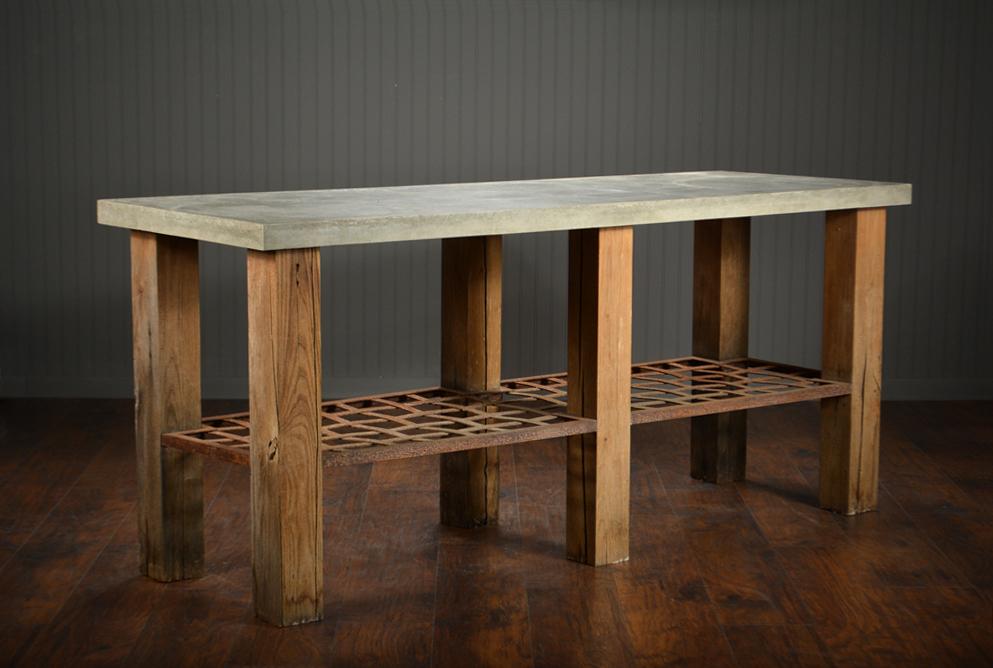 Famous Parsons Concrete Top & Elm Base 48X16 Console Tables Inside Concrete Top Console Table Phenomenal Parsons Dark Steel Base 48X (Image 13 of 25)