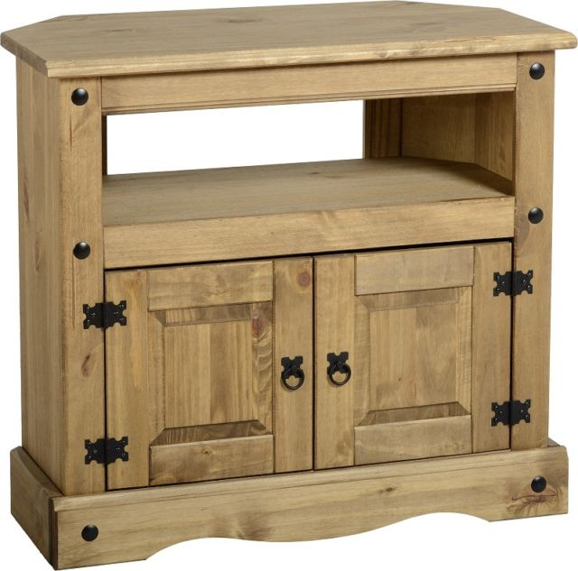 Famous Pine Tv Stands With Regard To Corona Corner Tv Stand 2 Door Pine Television Unit Mexican Solid (Image 5 of 25)