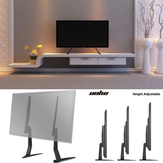 Famous Universal Flat Screen Tv Stands In Universal Flat Screen Tv Stand Holder Tabletop Vesa Pedestal Legs (Image 3 of 25)