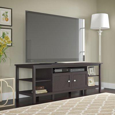 Famous Vista 60 Inch Tv Stands With Regard To Espresso Oak Open Storage Desk, Organizer, Bookcase – Broadview (Image 8 of 25)