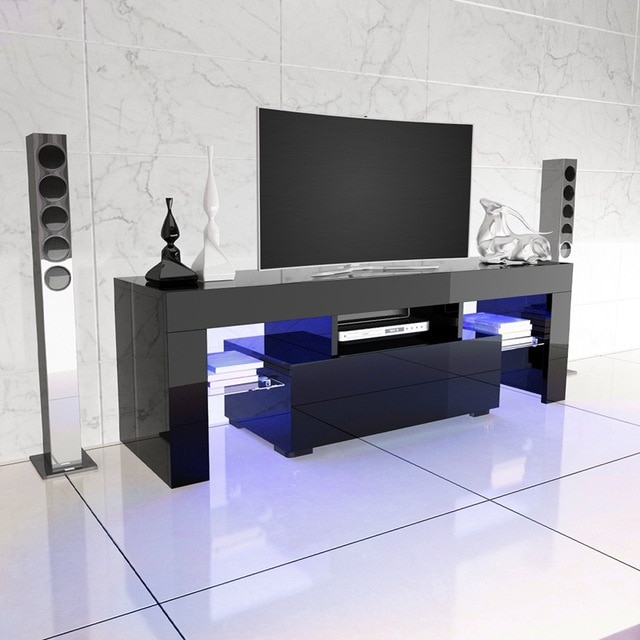 Fashionable Black Gloss Tv Stands With Regard To Led Tv Stand High Gloss Tv Cabinet Modern Living Room Furniture (Image 9 of 25)