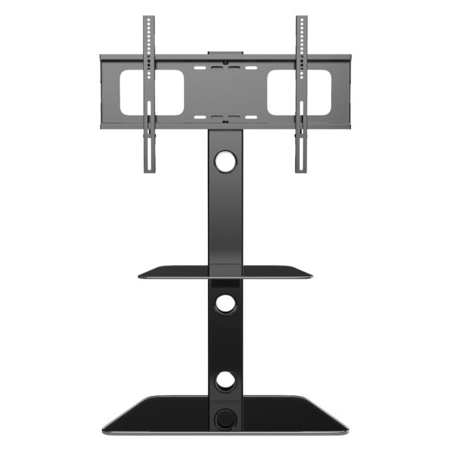 Fashionable Cantilever Glass Tv Stand With Regard To Cantilever Glass Tv Stand With 3 Shelves Bracket For 30 – 55 Inch (Image 11 of 25)