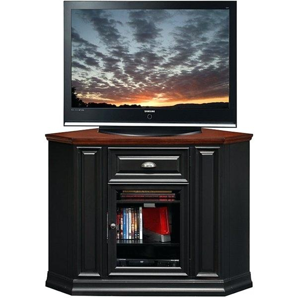 Fashionable Corner Tv Cabinets With Glass Doors With Regard To Black Corner Tv Stand Walmart Furniture Inch In Finish – Minddagap (Image 12 of 25)
