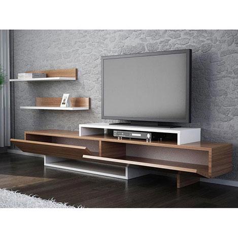 Fashionable Ducar 64 Inch Tv Stands For House Line Zenn Tv Ünitesi – Teak / Beyaz – Oscar Stone Modelleri Ve (Image 7 of 25)
