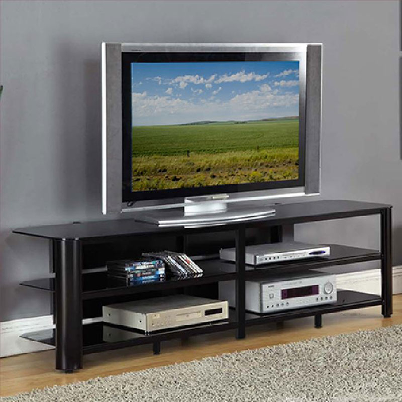 Fashionable Oxford 60 Inch Tv Stands Inside Innovex Oxford Series 75 Inch Flat Screen Tv Stand Black Glass Tpt73G (Image 5 of 25)