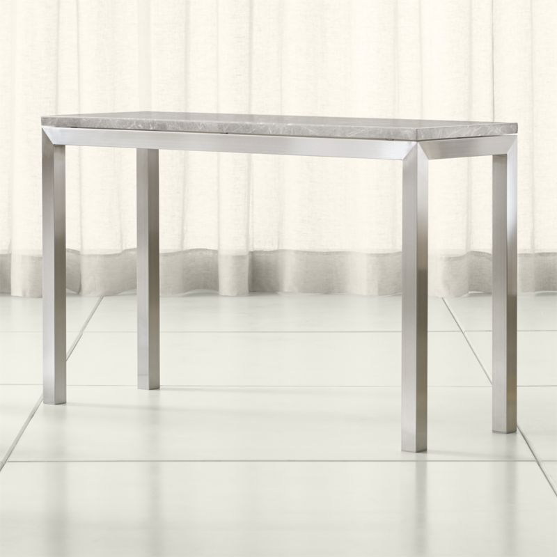 Fashionable Parsons Clear Glass Top & Brass Base 48X16 Console Tables With Parsons Grey Marble Top/ Stainless Steel Base 48X16 Console (Image 6 of 25)